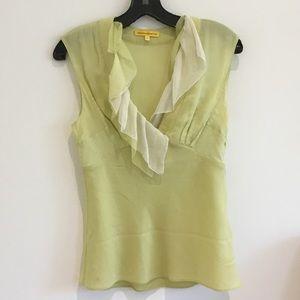 Catherine Malandrino lime green silk top ruffle